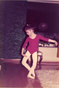 Dancing English Teacher doing a reverence at the age of 7-8.